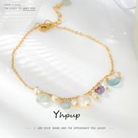 YHPUP GREEN PIEDRA NATURAL PIEZA EXQUISITO TOCKLETS DE PIERNAS 2020 Hecho a mano perla natural Coreano Charm de metal Joyería para mujeres verano LJ201007