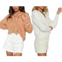 여성 재킷 가을 패션 가을 패션 가짜 모피 자켓 여성 2021 겨울 양털 따뜻한 부드러운 테디 코트 얇은 자르기 오버 코트 단일 브레스트 outwear1