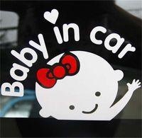 Reflexo dos desenhos animados design carro etiqueta bonito menina padrão preto decalque branco negros não reflexivo bebê em adesivos de aviso de carro 0 78sc l2