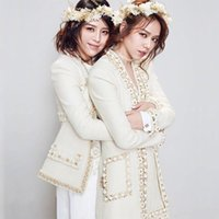2020 New Runway Autumn Woolen Blend Tweed brand Coat Women Flower beading Pearls Female Jacket High Waist Ladies Jackets