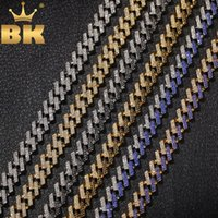 THE BLING KING Fashion Iced Prong Cuban Link Chains Necklaces 15mm Mutil-Colored Blue Black Rhinestones Hiphop Jewelry Mens LJ201007