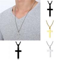 Bella catena di oro gioielli uomo croce collana collana collegamento catena collana dichiarazione di ritaglio gioielli in argento nero placcato oro croce 110 o2