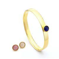 Varole 3 Cores Replaensable Opal Crystal Stone Set Cuff Braceletes Pulseiras Para Mulheres Cor Ouro Minimalista Bangle Moda Jóias