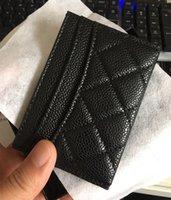 Design de Caviar preto Mini Carteiras Homens / Mulheres Cartão Titulares Goldsilver Hardware Total de Crédito de Couro Genuíno com Caixa