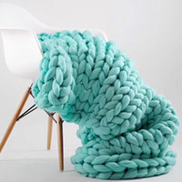 100x180cm Fashion Hand Chunky Wool Knitted Blanket Thick Yar...