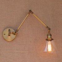 Cam Pirinç Ayarlanabilir Uzun Kol Duvar Işık Vintage Edison Loft Tarzı Endüstriyel Duvar Lambası Aplikleri Aplike Led Limyum Arandela