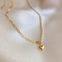 SRCOI Perles d'eau douce naturelle asymétrique Perlà Sautoirs Collier en métal amour collier pendentif Clavicule Collier Femme Bijoux
