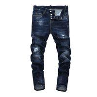 Tops homens rasgados pintados escuros jeans azul designer de moda magro fit cintura baixa cintura cintura denim calças hip hop calças nj7912