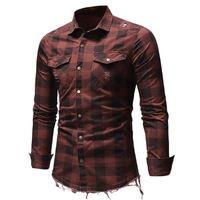 Homens Casuais Camisas Primavera Mens Manta Flannel Lumberjack Tartan Camiseta Escovado Algodão Moda Streetwear com Dois Bolso