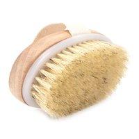 الخنزير الطبيعي شعيرات حمام مدلك فرشاة خشبية البيضاوي دش حمام فرش التقشير تدليك سبا فرشاة الجسم FFB3890