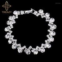 Link, Cadeia Treeza Prata Cor Crystal Pulseira para Mulheres Wave Forma de Gota Bridal Braceletes Bangles Acessórios de Jóias de Noivado de Casamento