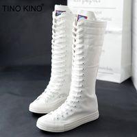 Joelho TINO KINO Mulheres Canvas Lace Up Autumn alta Botas Cruz Amarrado Zip Plus Size Ladies Flat Shoes Feminino Moda Casual Sneaker C1023