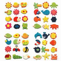 Di legno del frigorifero del fumetto magneti animali Decorare Messaggio Messaggio Studente Bambino di colore magnetico Incolla regalo Whale Dolphin Starfish Rana 0 13hp M2