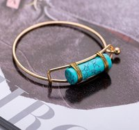 Quartz turkos kristall pärlor Bangle smycken för kvinnor MENNEW BULLET SHAPE Naturlig sten charms armband hexagonal prisma