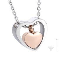 İki tonlu çift kalp kremasyon urn kolye paslanmaz çelik, minik kalp urn kolye, sevilen bir kayıp, kalp urn hediye