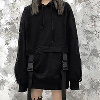 Rosetische Reißverschluss design Gothic Frauen Hoodie mit Kapuze plus Größe Lose Sweatshirt Pullover Streetwear Black Hoodies Kordelstring 201207