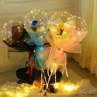 Led luminoso palloncino rose bouquet trasparente bolla incantata rose bobo palla 3m LED stringa Valentines wedding brithday decorazione E121801