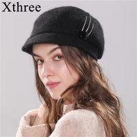 XTREE Новая женская шляпа вязаная зимняя шляпа Bearet Hat для девочки Angola Birlit Mur Fash Fashion Cap с Breim Y200102