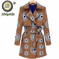 Afrikaanse jassen voor vrouwen Bazin Riche Ankara print puur katoenen jassen privé aangepaste wax batik voering uitloper lange jas S1824017 201031