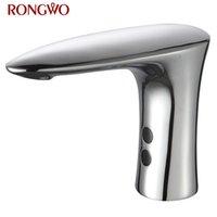 Смесители раковины в ванной комнате Rongwo Автоматический сенсорный кран бассейна Chrome латунный холодный водяной смеситель без сенсорного инфракрасного крана
