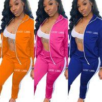 여성 럭키 Lable 편지 Tracksuit 자수 지퍼 코트 높은 칼라 자켓 및 레깅스 바지 복장 두 조각 의류 Sportwear G12201