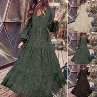 Günlük Elbiseler Zanzea Kadınlar Maxi Uzun Elbise 2021 Moda Bayanlar Fırfır Vestidos Katı Robe Femme Sonbahar Puf Kol Sundress Artı Boyutu