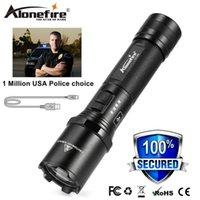 AloneFire TK700 CREE LED Polis Fener Güvenliği ve Öz Savunma Ultra Parlak Torch Usb Şarj edilebilir Taktik devriye Işık Y200727