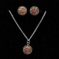 Ringings colar mulheres conjunto de jóias de aço inoxidável moda senhora casamento bridal studs chain jóias ornamentos 2 5mp j2b