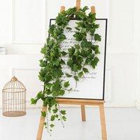 Guirnaldas de flores decorativas 1 unid 1.7m decoración artificial vid vid rattan hoja hierba plantas hojas de uva para casa jardín fiesta decoración1