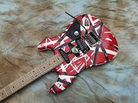 Heavy relique Kram Eddie Edward Van Halen 5150 Red Franken Guitare électrique Blanc Blanc Blanc Stripes, Big Habillée, Floyd Rose Tremolo Nut de verrouillage
