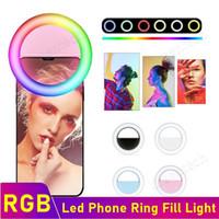 Universal LED RGB Anel selfie Luz USB recarregável Suplementar Iluminação Câmara Fotografia AAA Battery Para Smart Mobile Phones Free navio