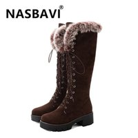 New round toe High Heels Snow Boots for Women Warm Fur Winter Shoes Knee High Fur thick bottom non-slip Boots for Women