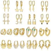 925 Стерлинговые серебряные серебряные звезды Серьги с крестом для женщин Золотая Змея CZ Небольшой обруч Серьги Piercing Heggies 2020 New Bijoux1