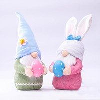 New Easter Decorations Pink Ears Gnome Faceless Bunny Plush Doll Ornaments For Kids Women Men Home Decoration HH21-68