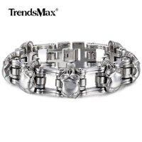 Trendsmax 316L Stainless Steel Bracelet 3 7 Skull Chain Bracelet Biker Bicycle Link Wristband for Mens Boys Male Jewelry 284