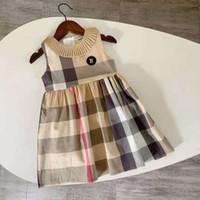 Nuevo 2-8T Ropa de niñas de verano Vestidos de moda para niños para niñas Cuello de cobertura Inglaterra Estilo para niños Niñas Vestidos