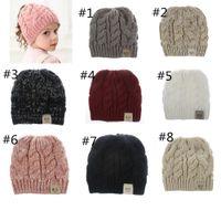 9 couleurs enfants filles Ponytail Bonnet Chapeaux Tricotés enfants Chunky Skull Caps Câble d'hiver en tricot crochet dégoulinent Chapeaux Mode Chapeaux pour le sport en plein air