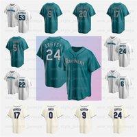 24 Ken Griffey Jr Jr Jersey Mariners 22 Robinson Cano Homens 51 Ichiro Suzuki Edgar Martinez Mitch Haniger Dee Gordon Custom Beisebol Camisas