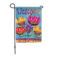 Margarita bandera sublimación banderas de jardín flor mariposa hierro barril abeja cinco puntiagudo estrella bienvenida dibujos animados girasol 6 2EX F2