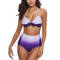 Женщины Sexy Gradient Halter Bikini Set Plus Размер Купальники Лук Большой бюстгальтер Кубок Бикини Летние Высокий Высох Купальник 3XL Купальник * E