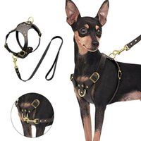 Arnés de perro Chaleco de cuero genuino ajustable Arnés para perros de cuero y caminar con correa de caminar para pequeños perros medianos PUG BEAG JLLLRIW