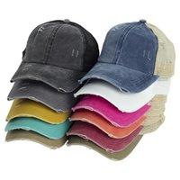 11 Renk Criss Çapraz At Kuyruğu Şapka Yıkanmış Pamuk Snapback Kapaklar Dağınık Bun Yaz Güneş Visor Açık Beyzbol Şapkası Parti Şapka EWF4236
