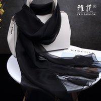 Schals Natürlicher Seidentuch Frauen Schwarz Farbe Foulard Femme Dünne Chiffon-Tücher Wraps Für Damen Solid 100% Real