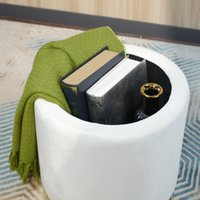 Design élégant pour salle de séjour Cercle blanc MDF Velvet tissu en mousse ottomane beoufe-tabouret de repose-pieds meubles
