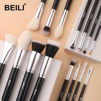 BEILI 15pcs Black Premium Goat hair makeup brush set big Powder foundation blusher eye shadow Contour Make up brush tool 201008