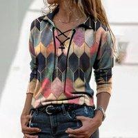 Camicia da donna Vintage Geometrica Geometrica Camicia Camicia Primavera Autunno con scollo a V Casual Manica lunga Manica PullOver Top Ladies Elegante allentato Blusa 3XL