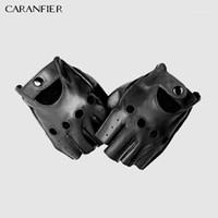 Caranfieri رجل جلد طبيعي قفازات زلة مقاومة نصف اصبع جلد الغنم أصابع رياضة اللياقة لتعليم قيادة الرجال قفازات moto1