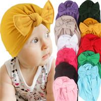 طفل الوليد الطفل bowknot القبعات الانحناء كبير الرأس التفاف قبعات الأزهار عقال الرضع حك بيني الاطفال gilrs الشعر الفرقة غطاء للأذنين g10507