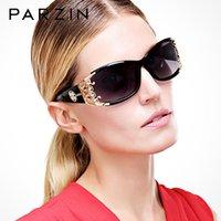 PARZIN óculos polarizados Mulheres Luxo vidros de sol Mulher Shades Vintage Sunglases UV 400 Preto com caso