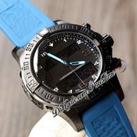 Nuevo Espacio Profesional Expace Space Chrono B55 Dual Time Zone Swiss Quartz Mens Reloj PVD Steel All Dial Negro Blue Rubber PTBL PRETIME A09C3